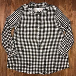 J. Jill Black Cream Plaid Top Size Large Shirt